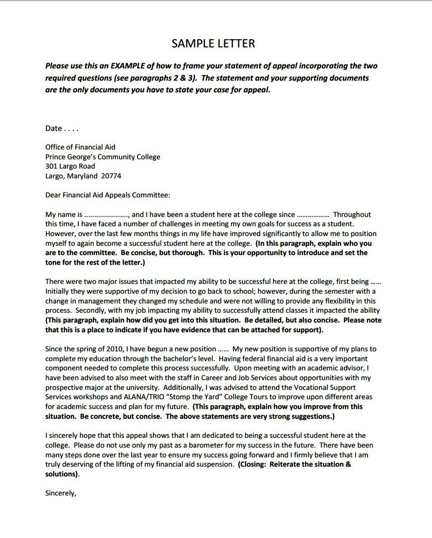 appeal sample letter for financial aid